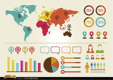 Pacote de recursos de infográficos sociais