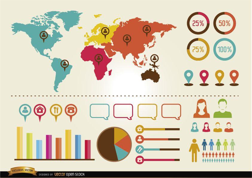 Paquete de recursos de infografías sociales