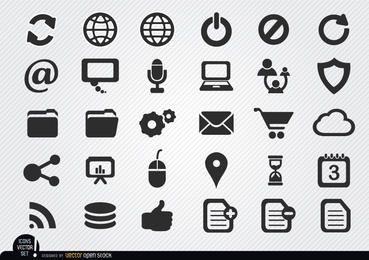Einfache Internet-Ikonen eingestellt