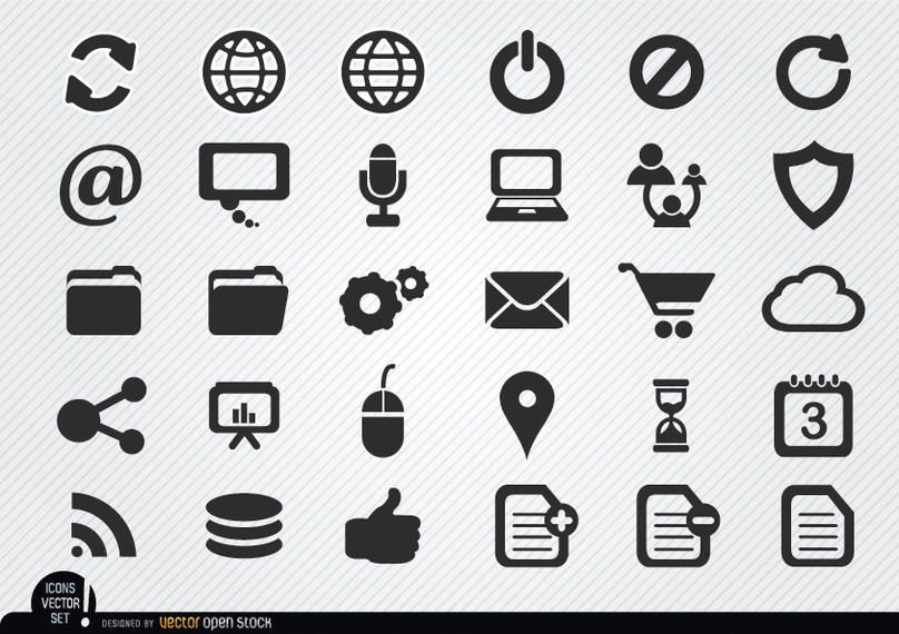 Conjunto de ícones simples internet