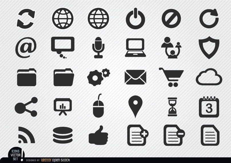 Conjunto de iconos de internet simple