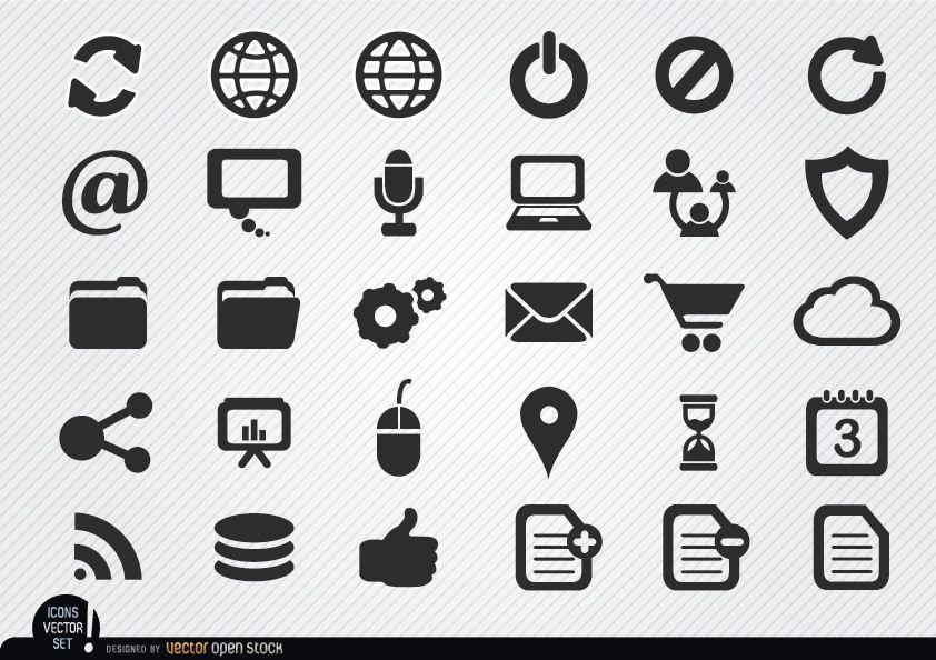 Conjunto de ícones simples da internet