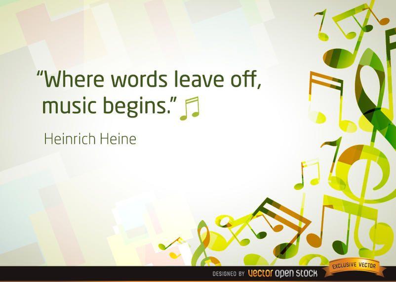 Fundo de notas musicais com citação