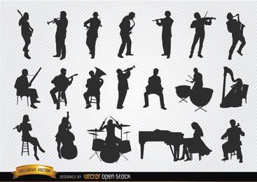 Conjunto de silhuetas de músicos