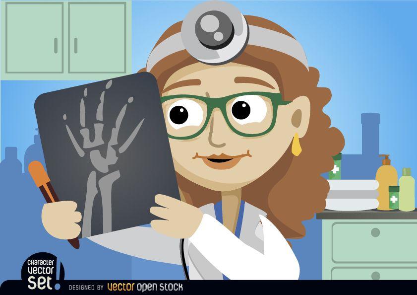 Doctor mujer mirando radiografía