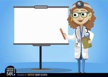 Doctora con pantalla de presentación