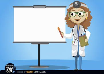 Doutor fêmea com tela de apresentação