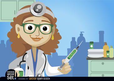 Mujer médico con la inyección de la medicina