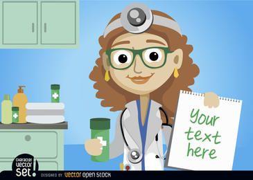 Doutor, mulher, com, medicina, e, prescrição