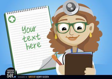 Doctora escribiendo prescripción médica