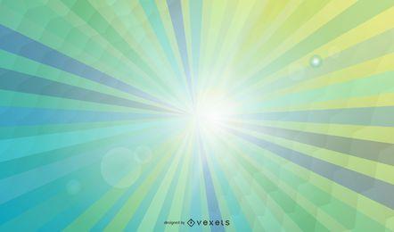 Fundo de raios de sol azul e verde brilhante