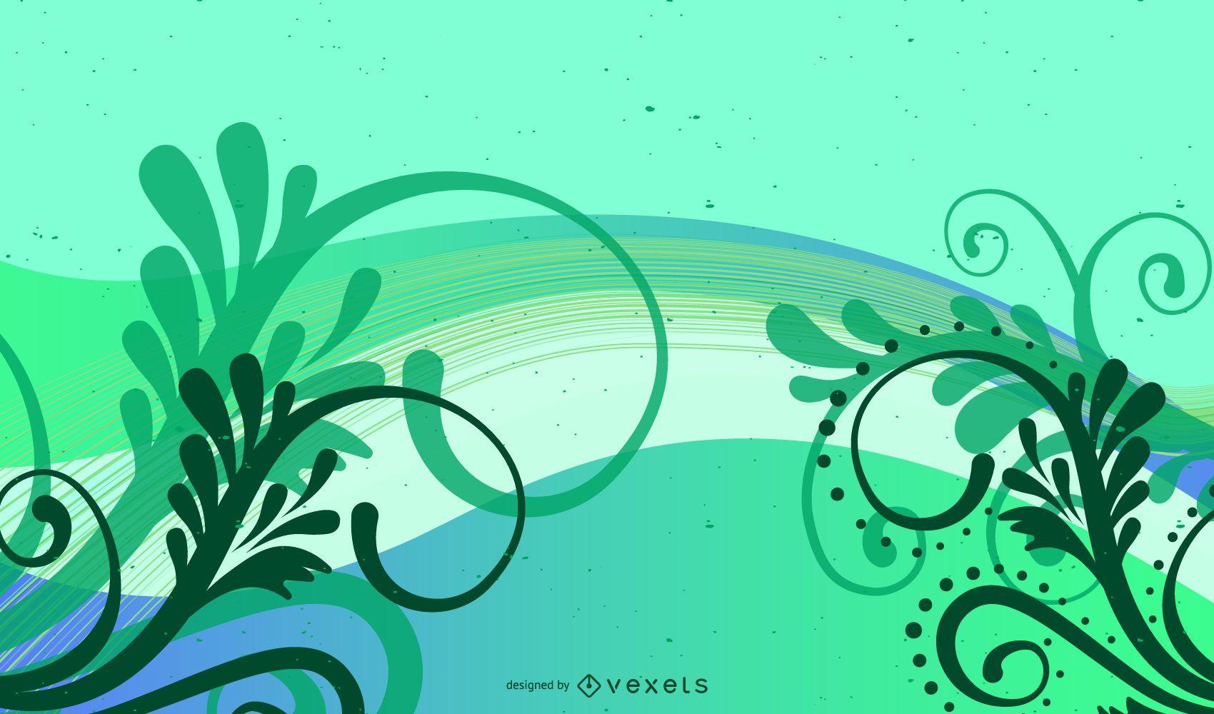 Fondo orgánico abstracto ondas y remolinos
