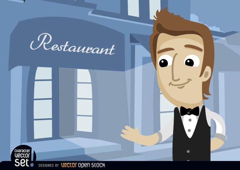 Waiter in restaurant entrance