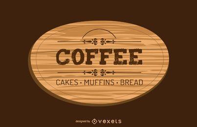 Design de rótulo de madeira de café