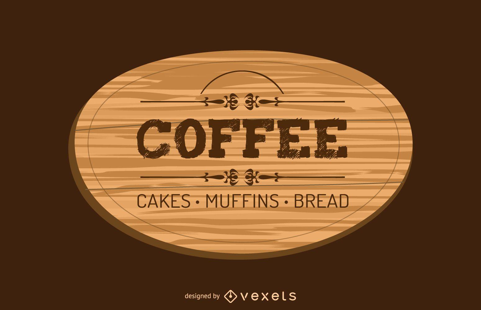 Kaffee Holz Label Design