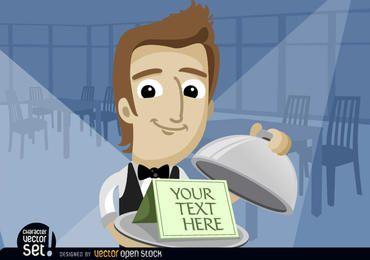 Kellner, der Text im Behälter mit Deckel zeigt