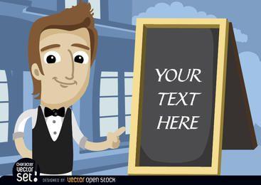 Garçom, apontando o texto do quadro de menu