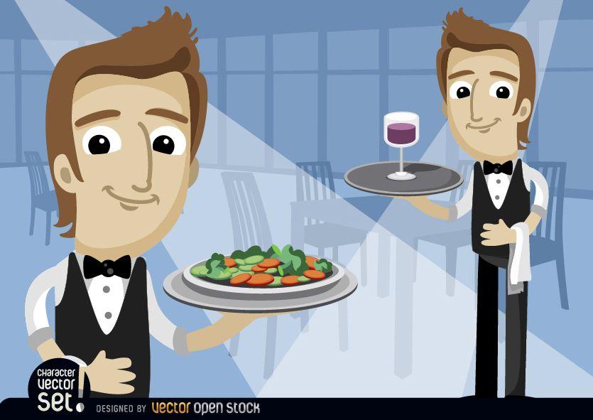 Camareros con plato de ensalada y copa de vino