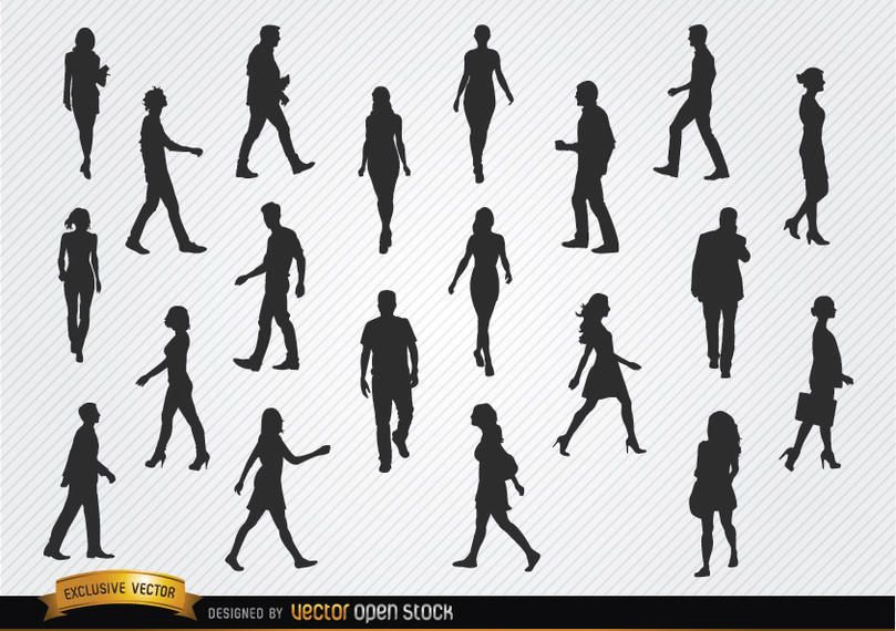 Walking people silhouettes set