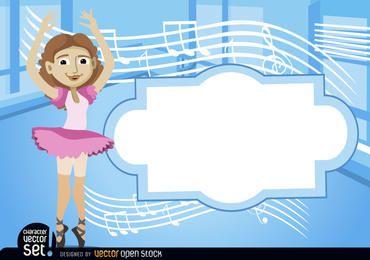 Bailarina com stave e texto