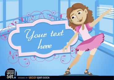 Menina, em, balé, prática, com, quadro, texto