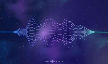Abstrato colorido estrelado Cosmos Sound Wave Background