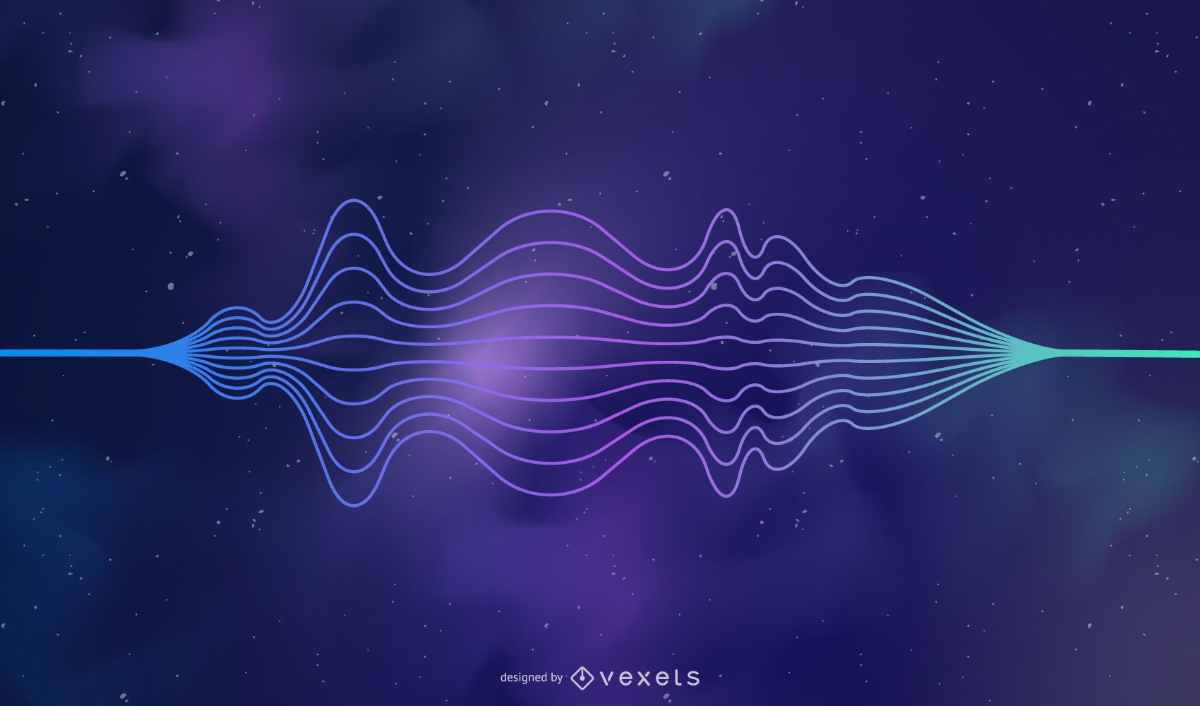 Fondo de onda de sonido abstracto colorido cosmos estrellado