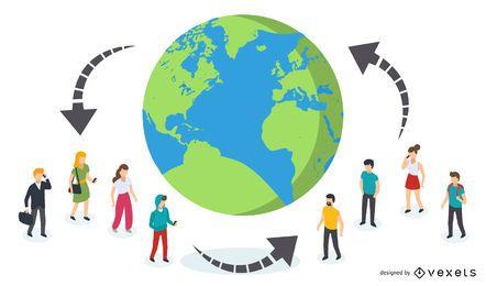 Vernetzte Menschen weltweit