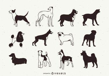 Pack de silueta de perro de raza negra y blanca