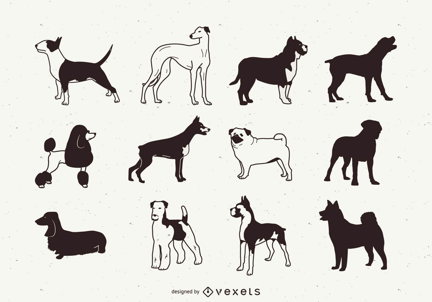 Paquete de silueta de perro de raza blanca y negra