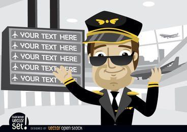 Piloto mostrando textos da placa do aeroporto