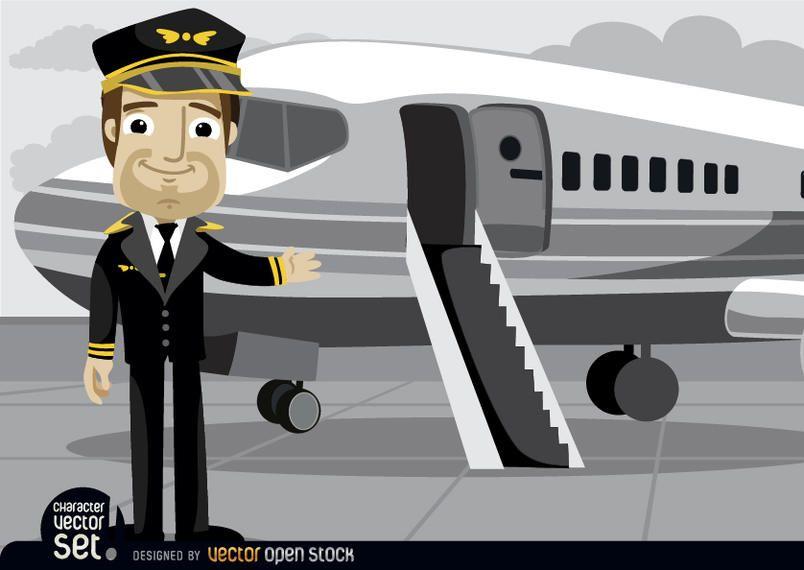 Piloto na frente do avião