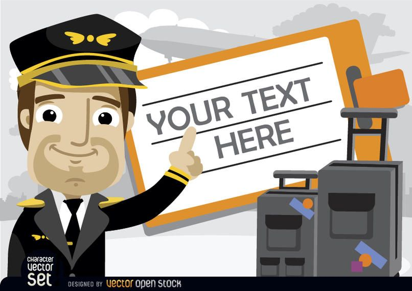 Piloto com bagagem e texto do bilhete de viagem
