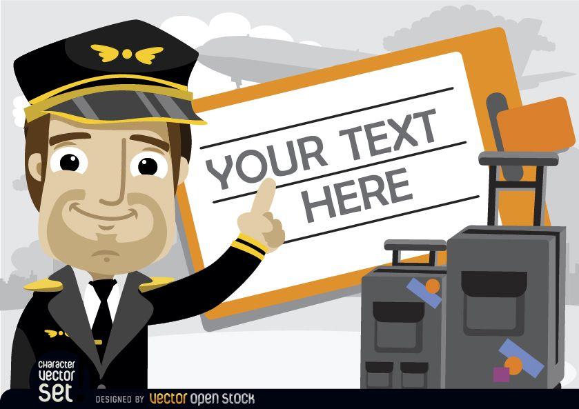 Piloto con equipaje y texto de boleto de viaje.