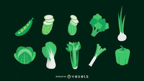 Grüne Gemüsepackung