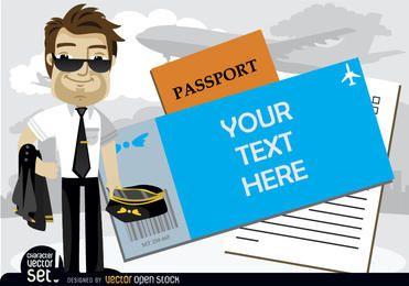 Piloto de avião ao lado de texto no passaporte