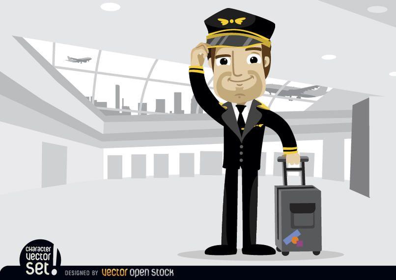Avión piloto con equipaje en aeropuerto.