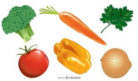Conjunto de verduras de colores brillantes