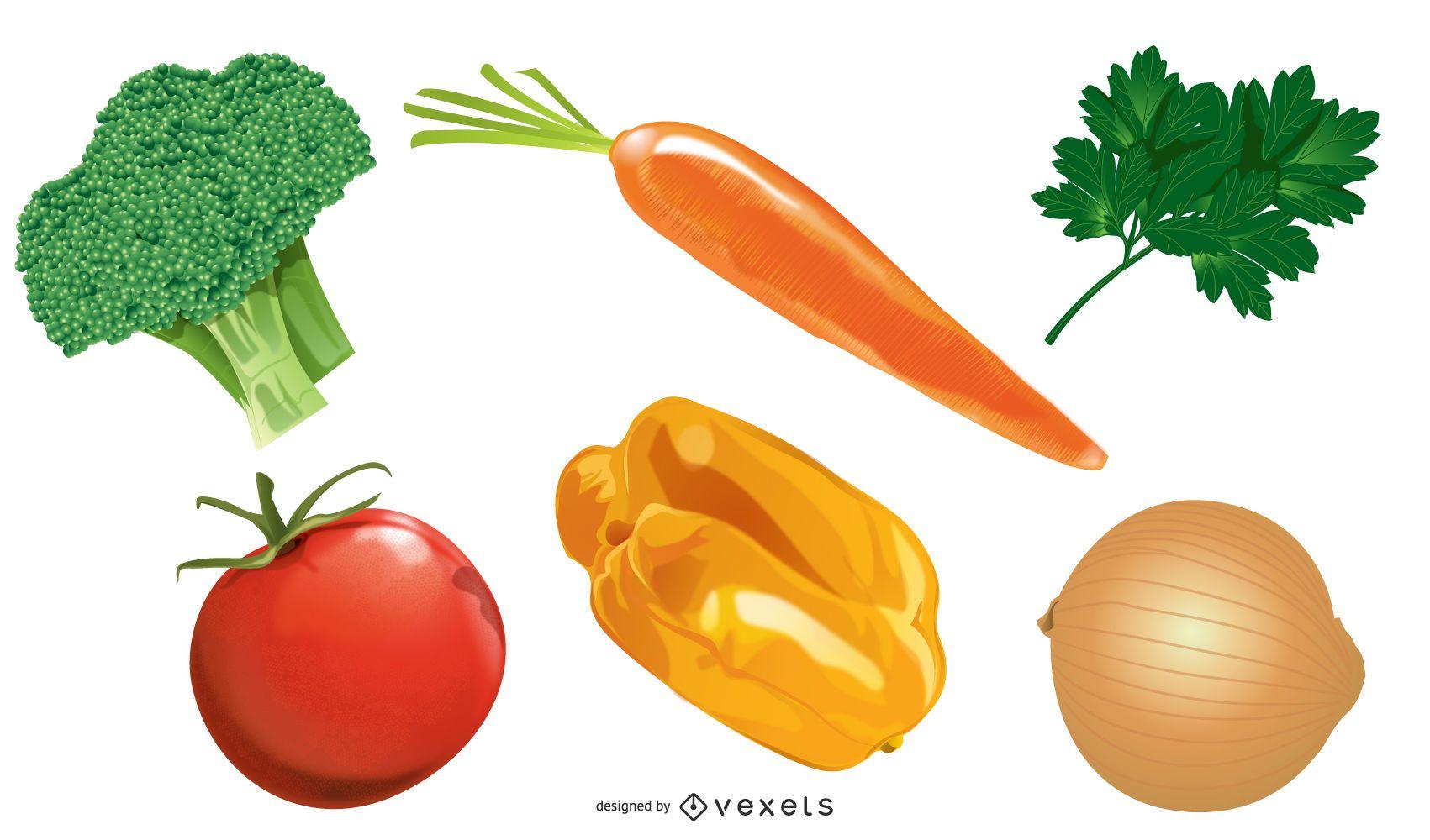 Conjunto de vegetales de colores brillantes