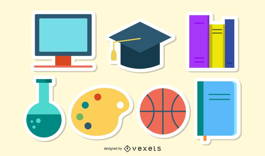 Sticker Set with Funky School Themed Icon