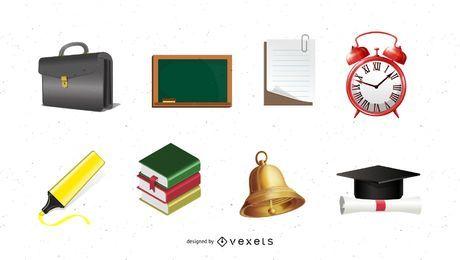 Conjunto de ícones da escola tema 3D