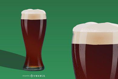 Copo de cerveja gelado derramando realista