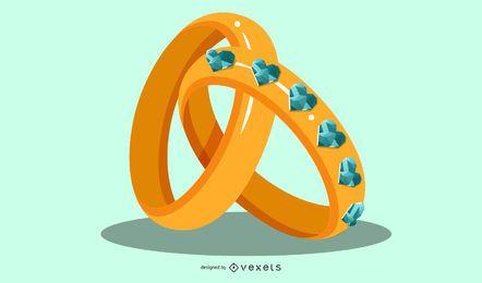Hermosos anillos de bodas de oro y diamantes entrelazados
