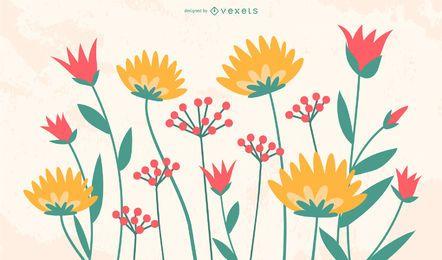 Paquete de flores dibujadas para niños Funky
