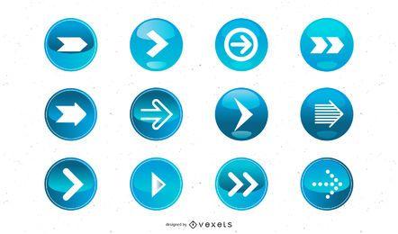 Glänzender blauer 3D-Pfeilsatz