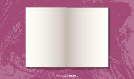 Diseño de revista abierto en blanco