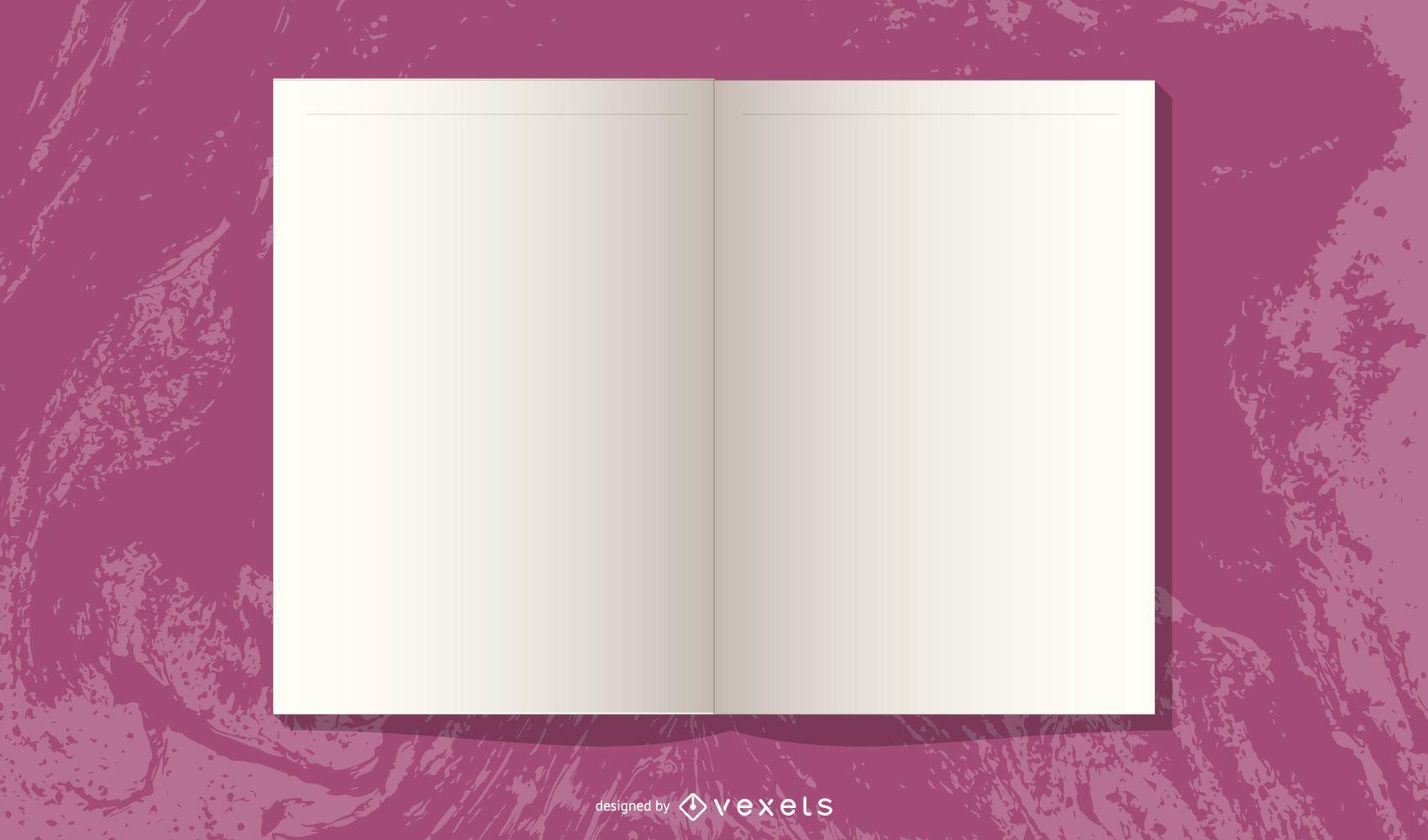 Diseño de revista abierta en blanco