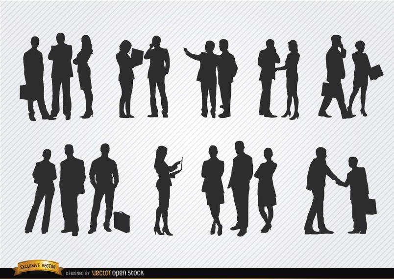 Pessoas negócio, reunião, silhuetas