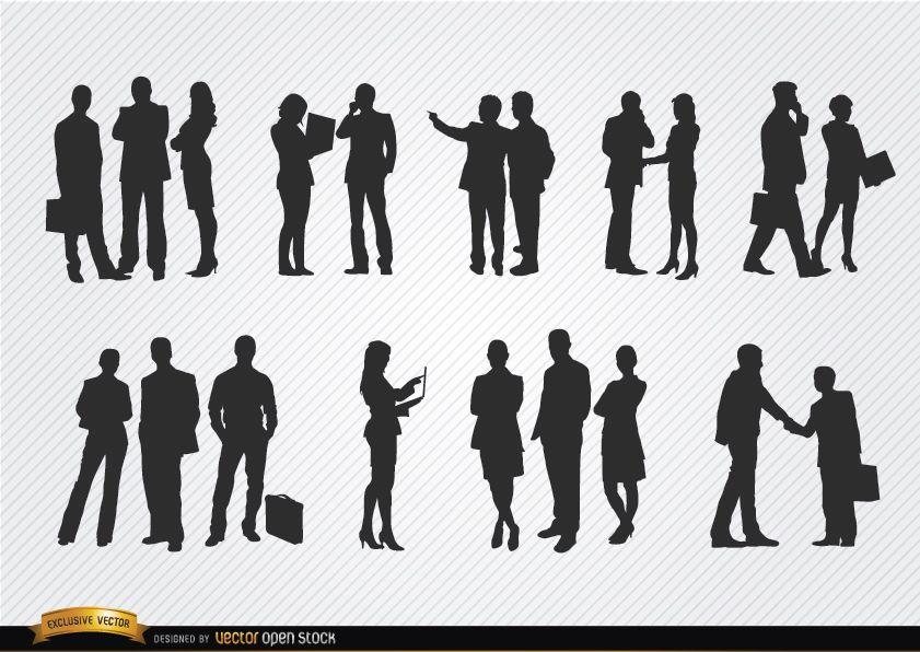 Geschäftsleute treffen Silhouetten