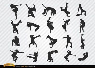 Silhuetas de break dance